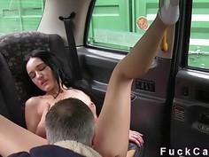 Babe enjoys suck big dick in fake taxi