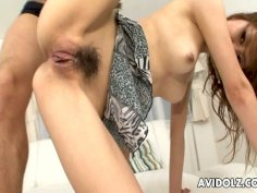 Pussy hungry guys eat and finger sexy girl Rika Aina